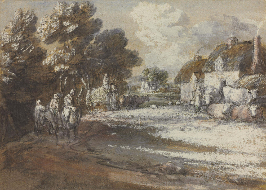 Thomas Gainsborough. Travelers on the background of the village