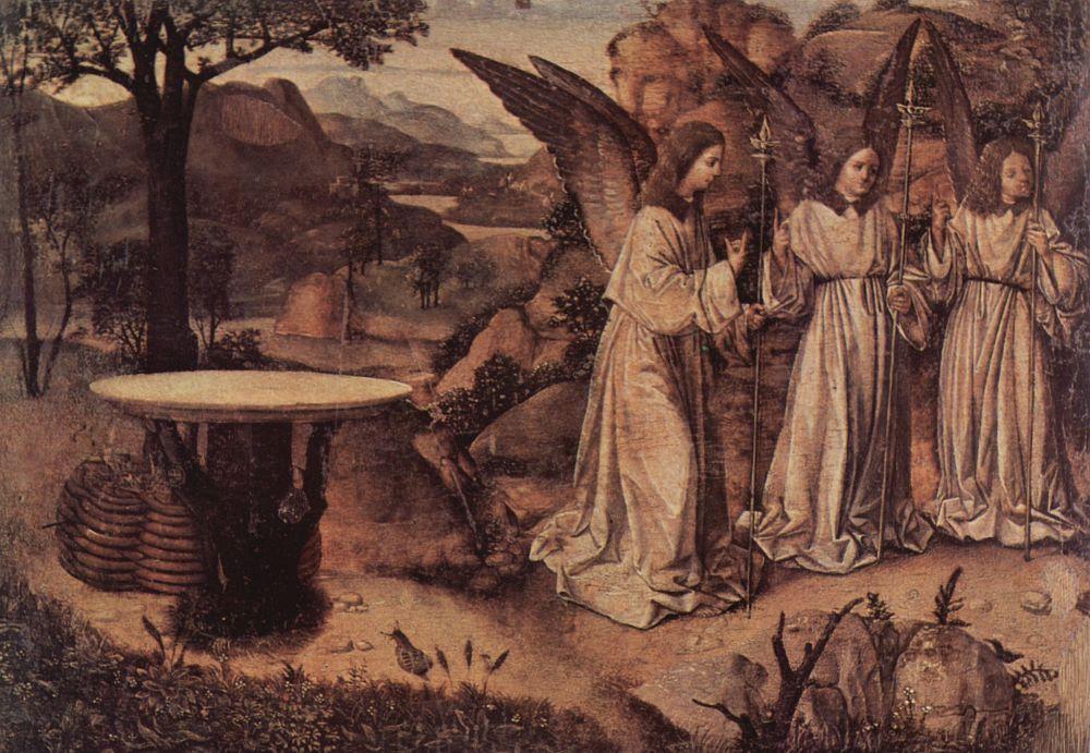 Антонелло да Мессина. Явление трех ангелов Аврааму, фрагмент