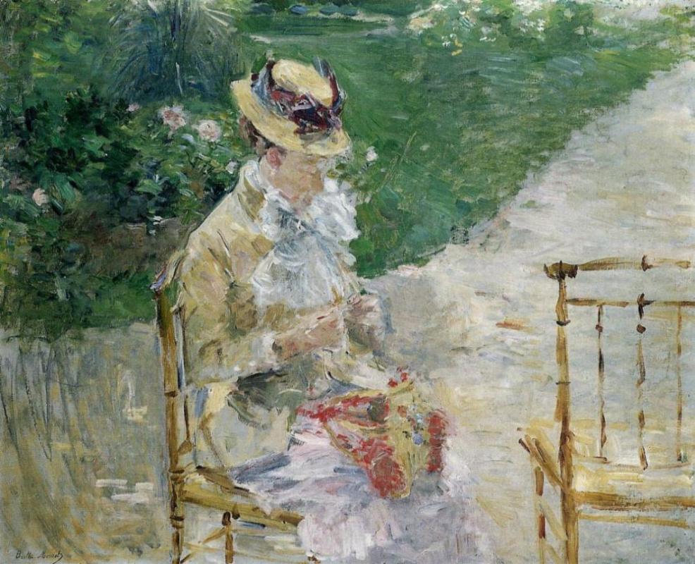 Берта Моризо. Женщина шьёт в саду