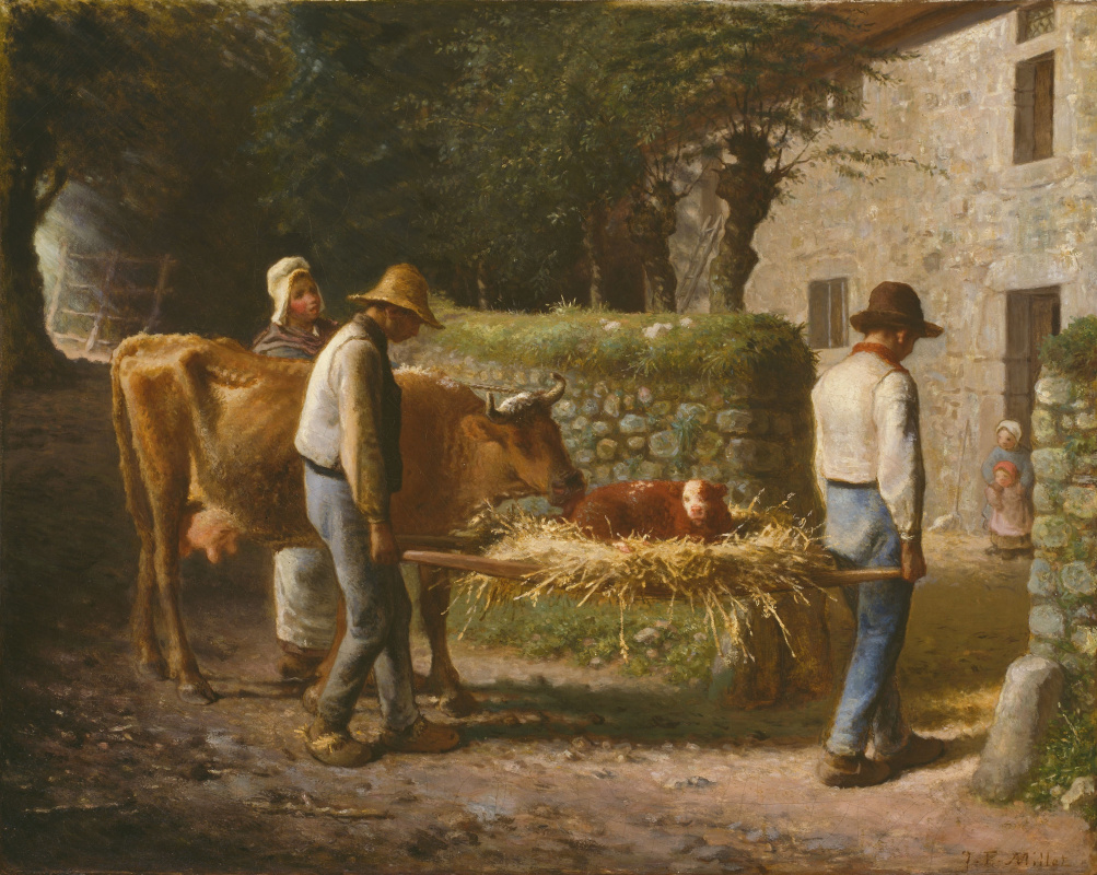 Jean-François Millet. Peasants bring home a calf born in the field.