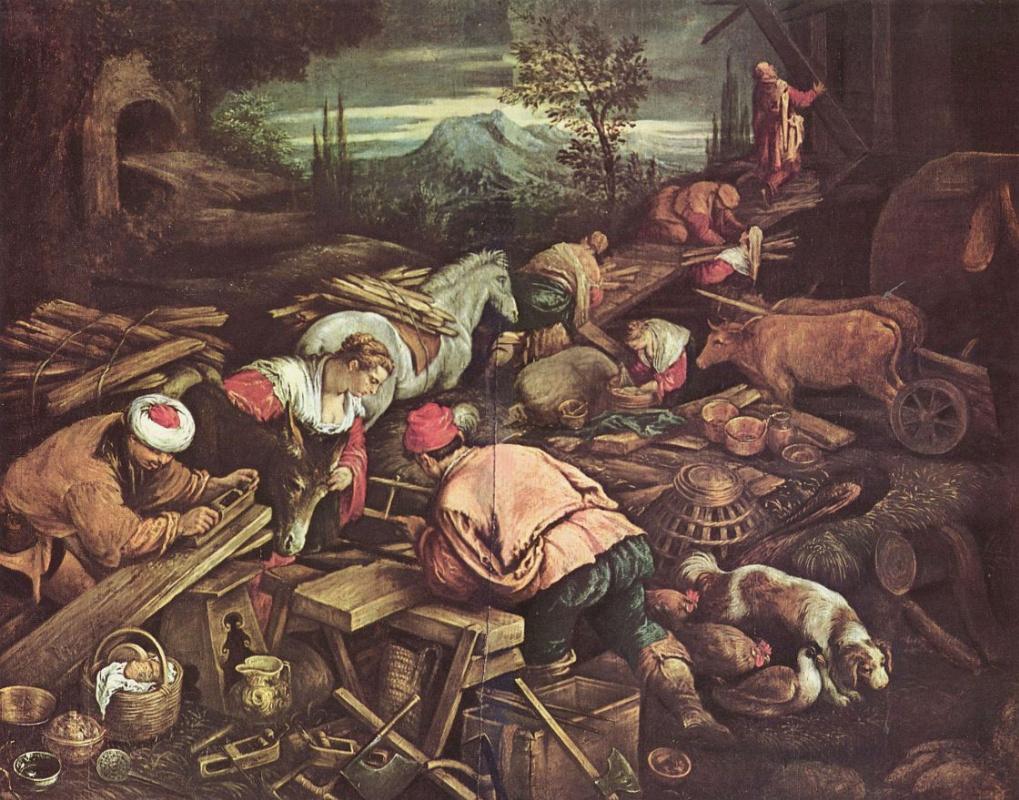 Jacopo da Ponte Bassano. The construction of Noah's ark