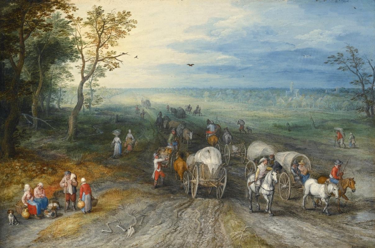 Jan Bruegel The Elder. Landscape with travelers on a rural road