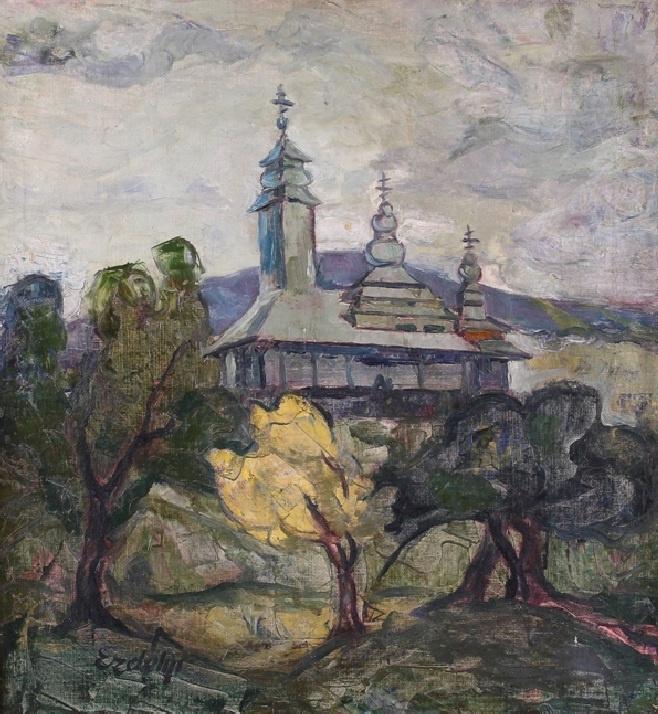 Adalbert Mikhailovich Erdeli. Landscape with a church