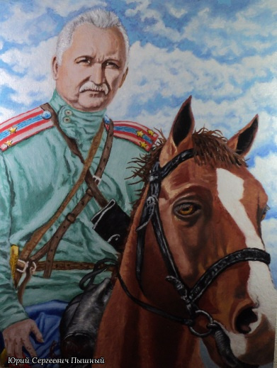 "Yuri Sergeevich Pyshniy. ""Казак"" - картина маслом"