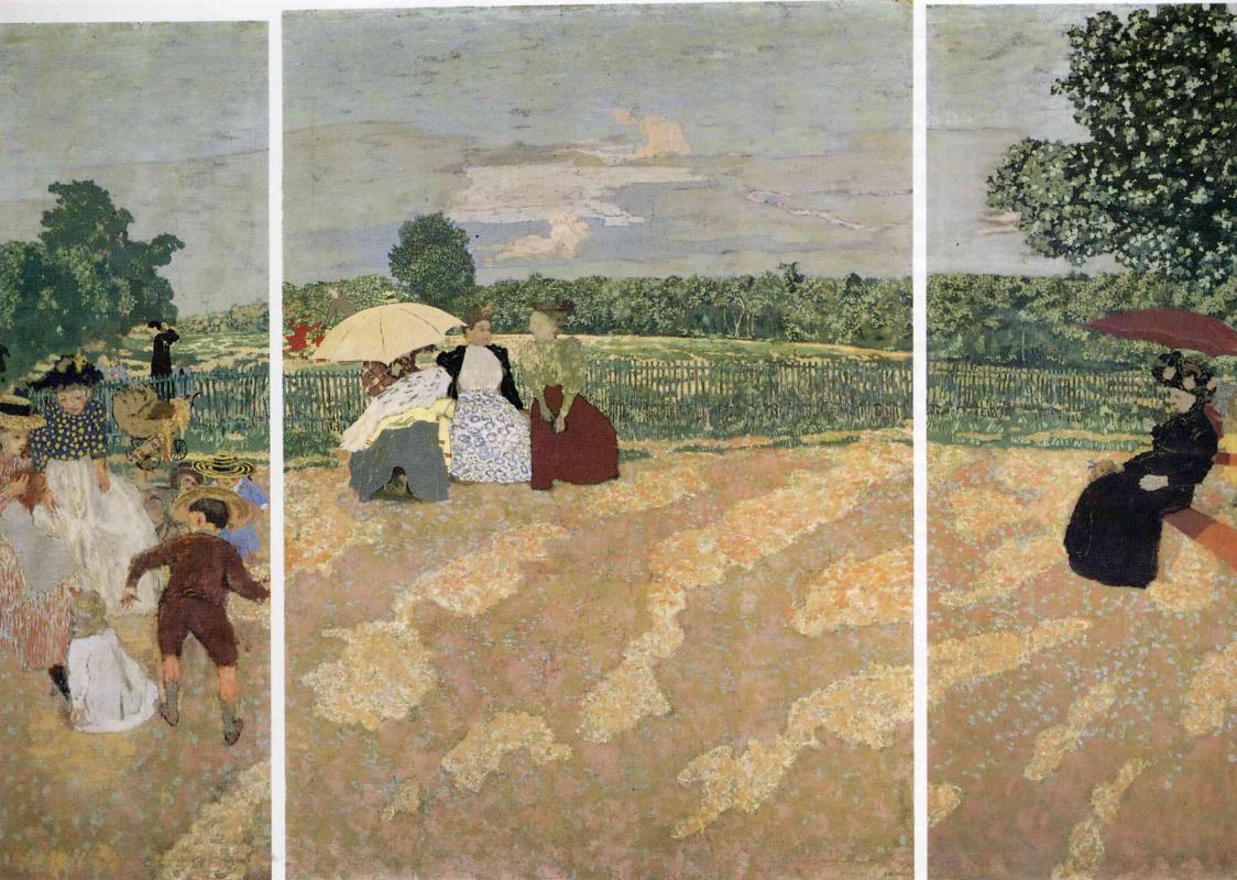 Jean Edouard Vuillard. Triptych. Summer day in the garden: the nanny. Conversation. Red umbrella