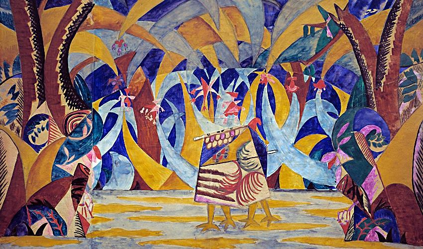 Михаил Федорович Ларионов. Лес. Эскиз декорации к балету «Русские сказки»