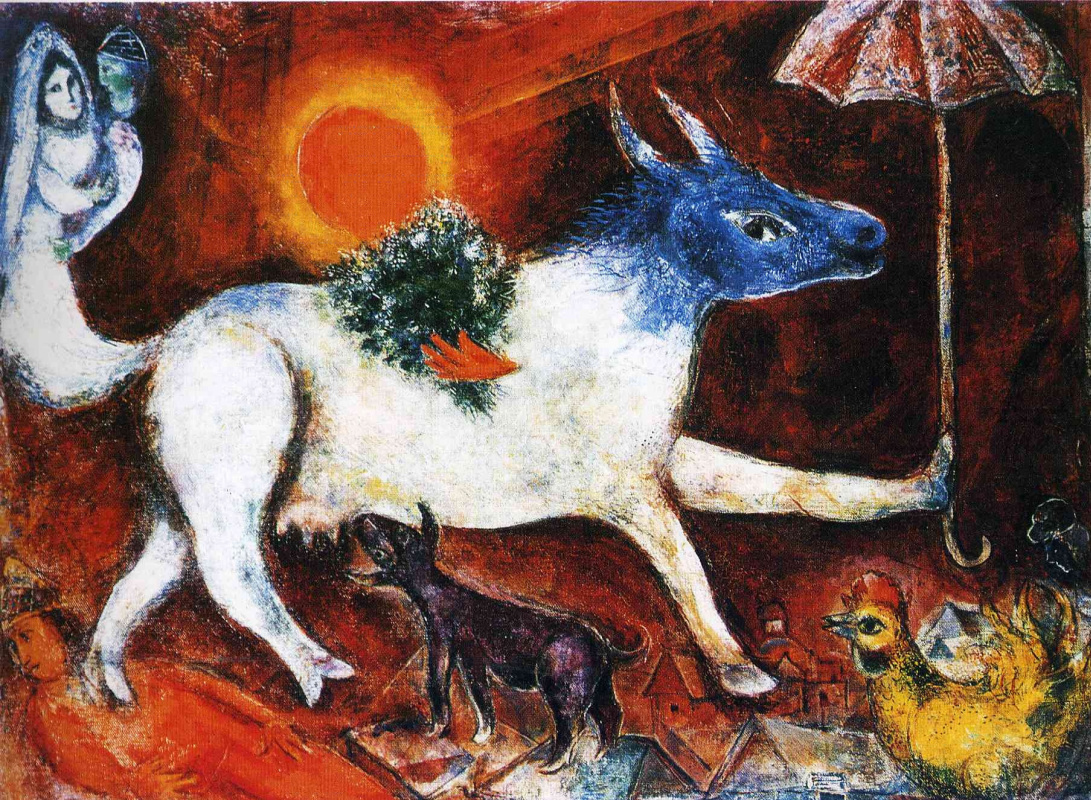 Marc Chagall. Cow with parasol