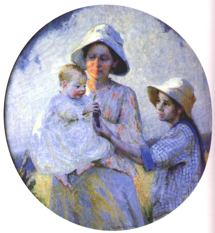 Мать и двое детей на открытом воздухе