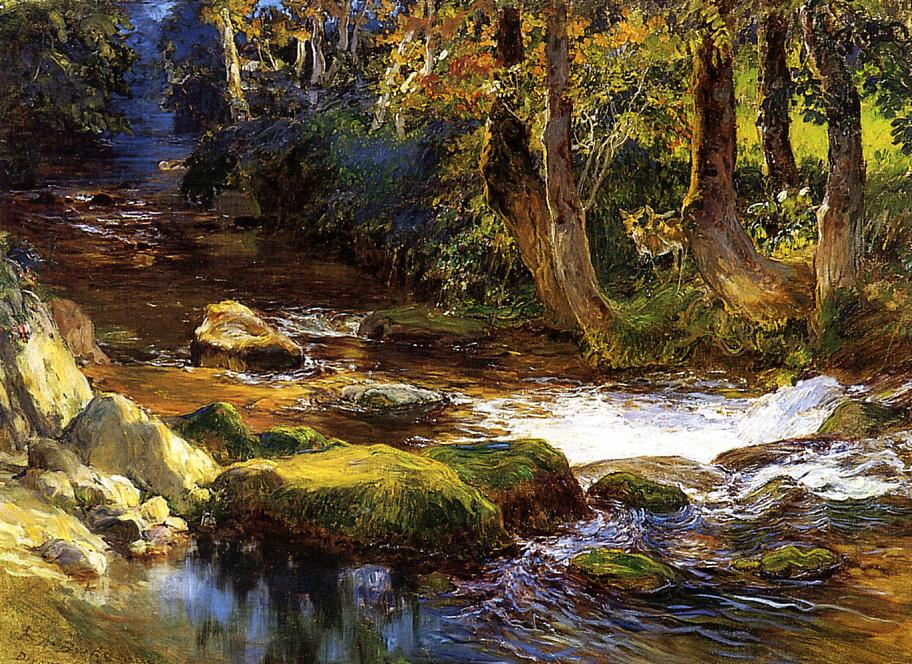 Frederick Arthur Bridgman. River landscape with deer