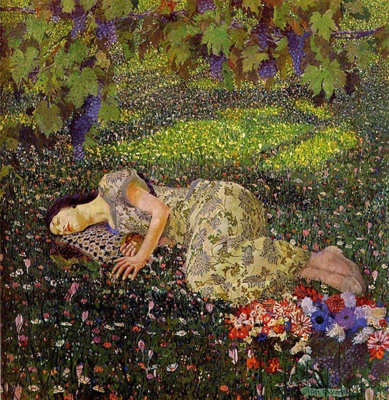 Image result for felice casorati dreaming of pomegranates 1912