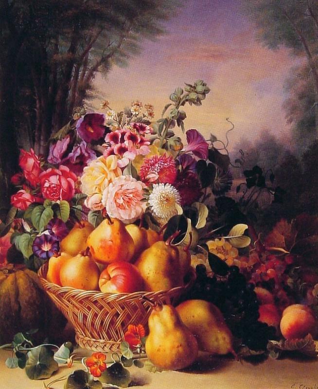 Эжен Адольф Шевалье. Натюрморт с цветами