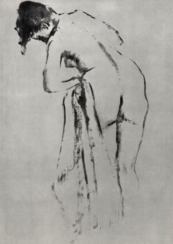 Эдгар Дега. Стоящая обнаженная за туалетом, фигура со спины