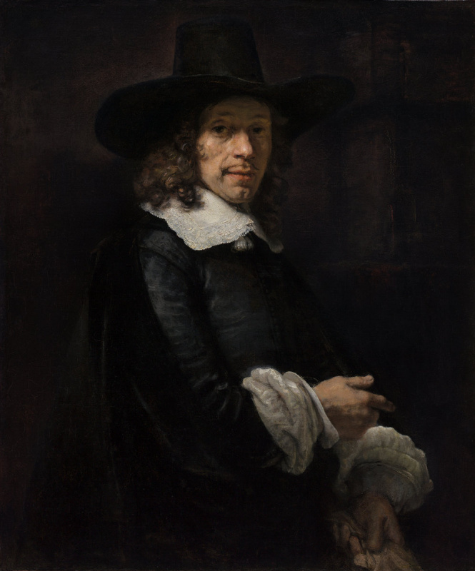 Rembrandt Harmenszoon van Rijn. Portrait of a gentleman in a high hat and gloves