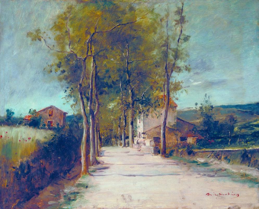 Михай Либ Мункачи. Пейзаж с домами вдоль дороги