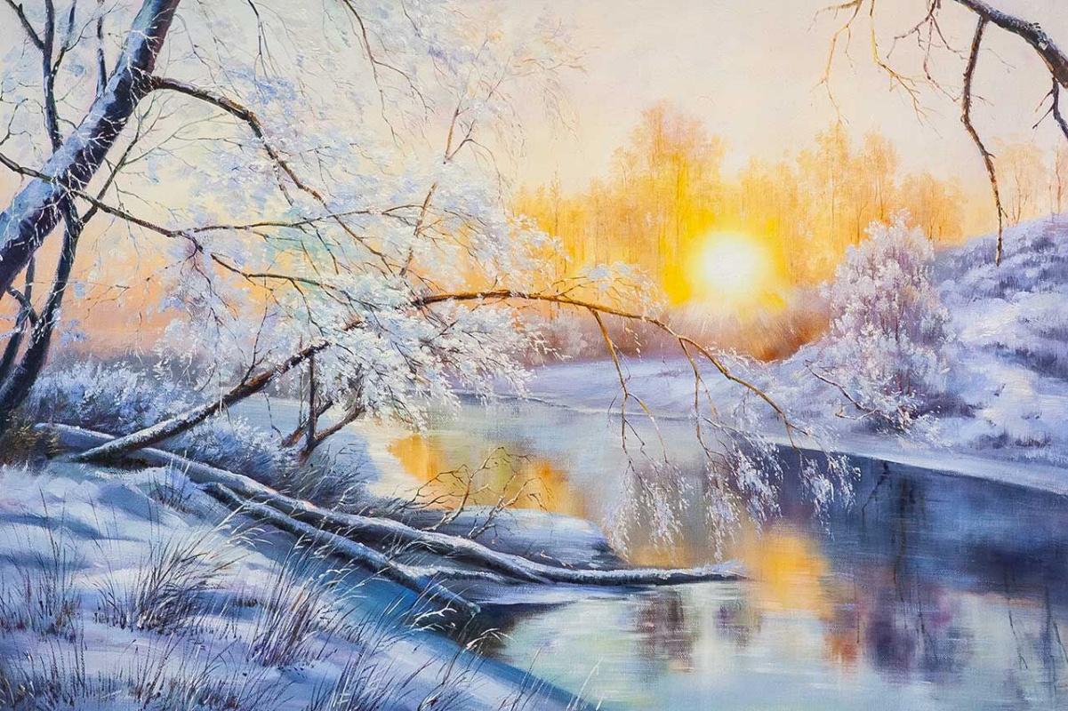 Alexander Romm. Frosty morning at sunrise