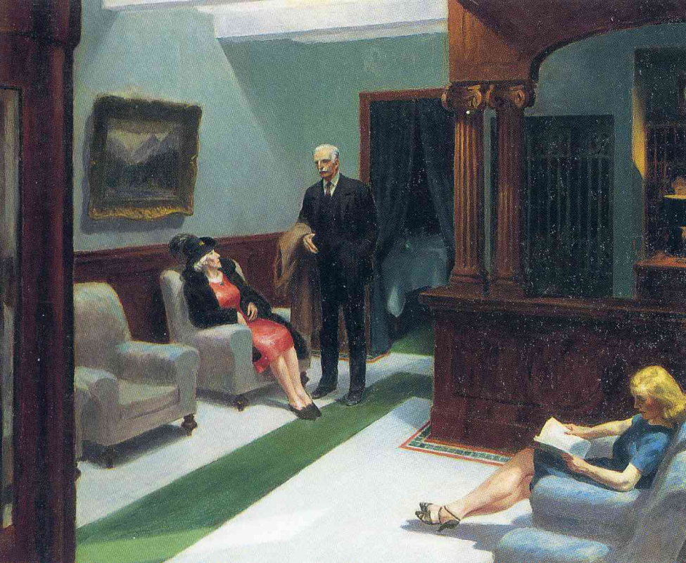 Edward Hopper. In the lobby of the hotel