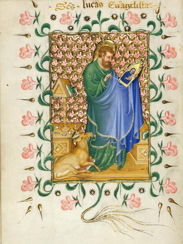 Микелино да Безоццо. Святой Лука, рисующий Деву Марию. Миниатюра из Молитвенника