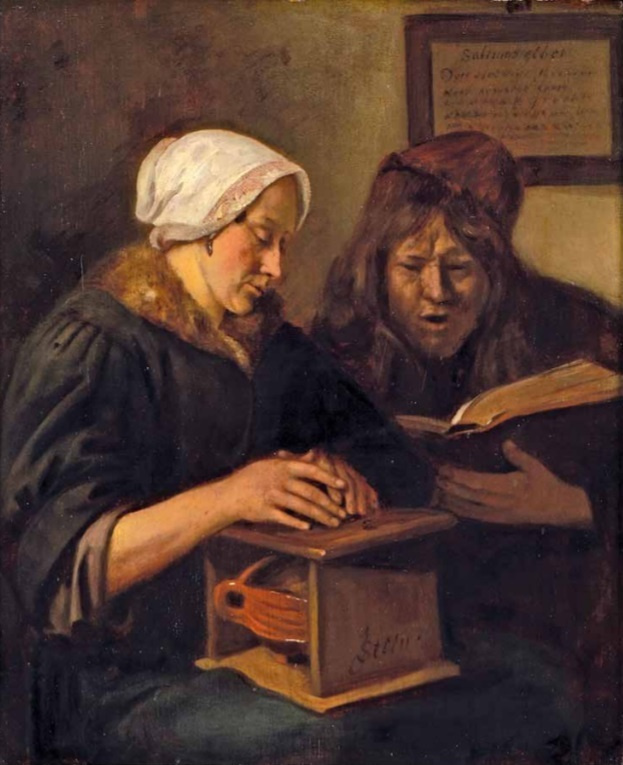 Jan Steen. Man and woman keep warm and read the Bible
