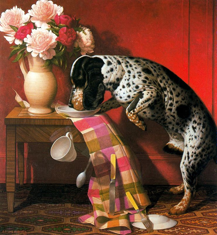 Стоун Робертс. Собака и ваза с цветами