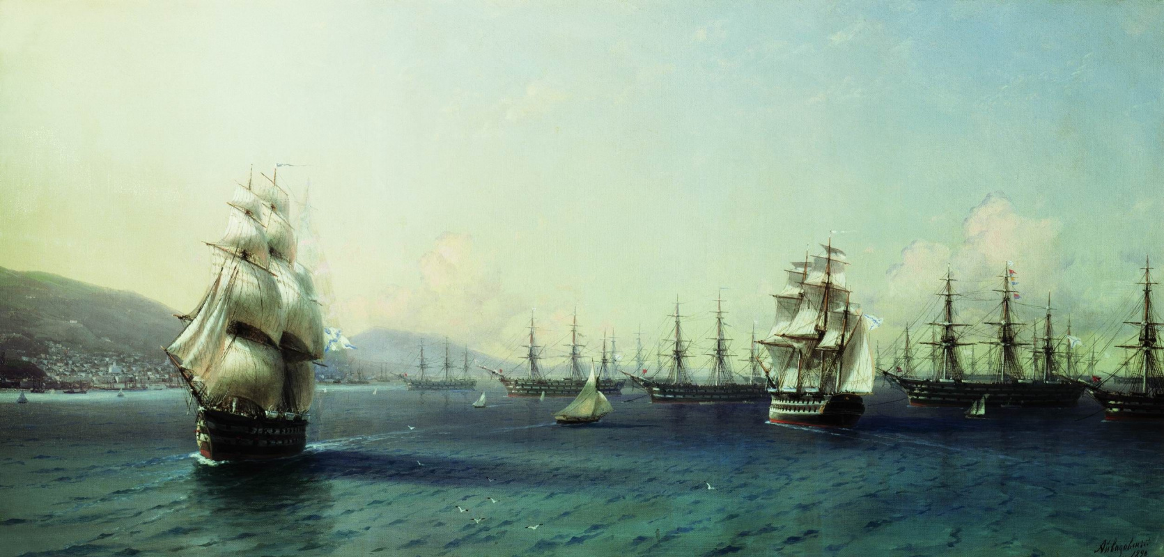 Ivan Constantinovich Aivazovski. The black sea fleet in Feodosiya