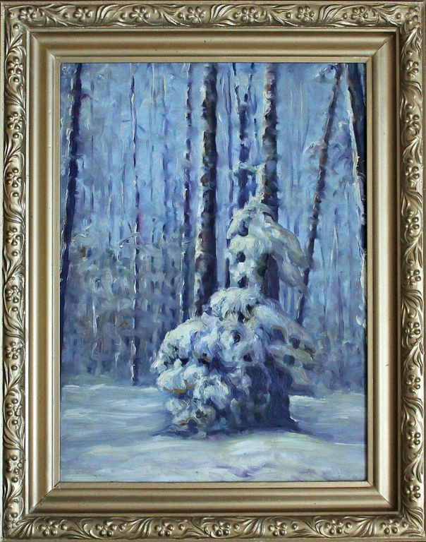 Unknown artist. Winter in the forest