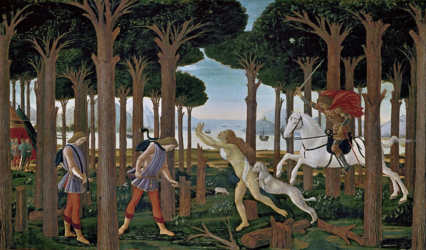 """Sandro Botticelli. A scene from """"La Novella di Nastagio degli Onesti"""" series. I"""