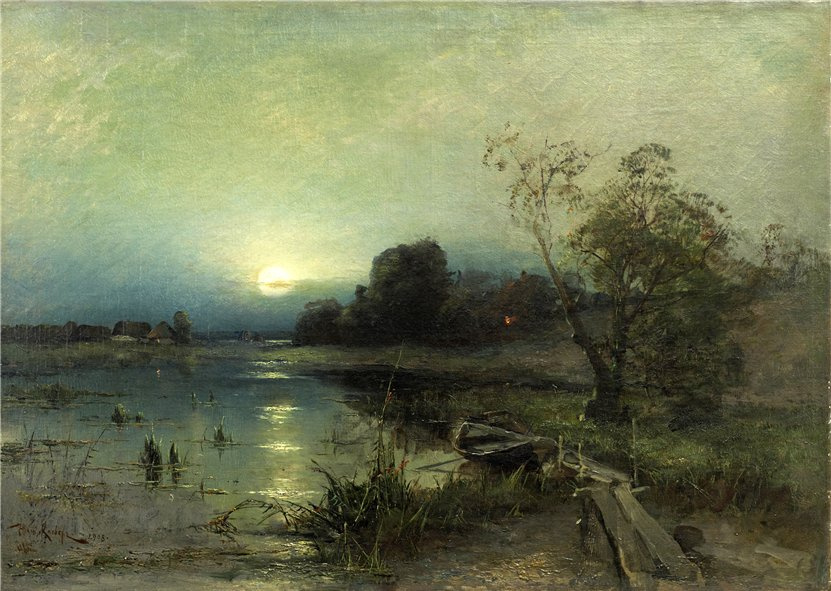 Julius Klever. Evening landscape with boat