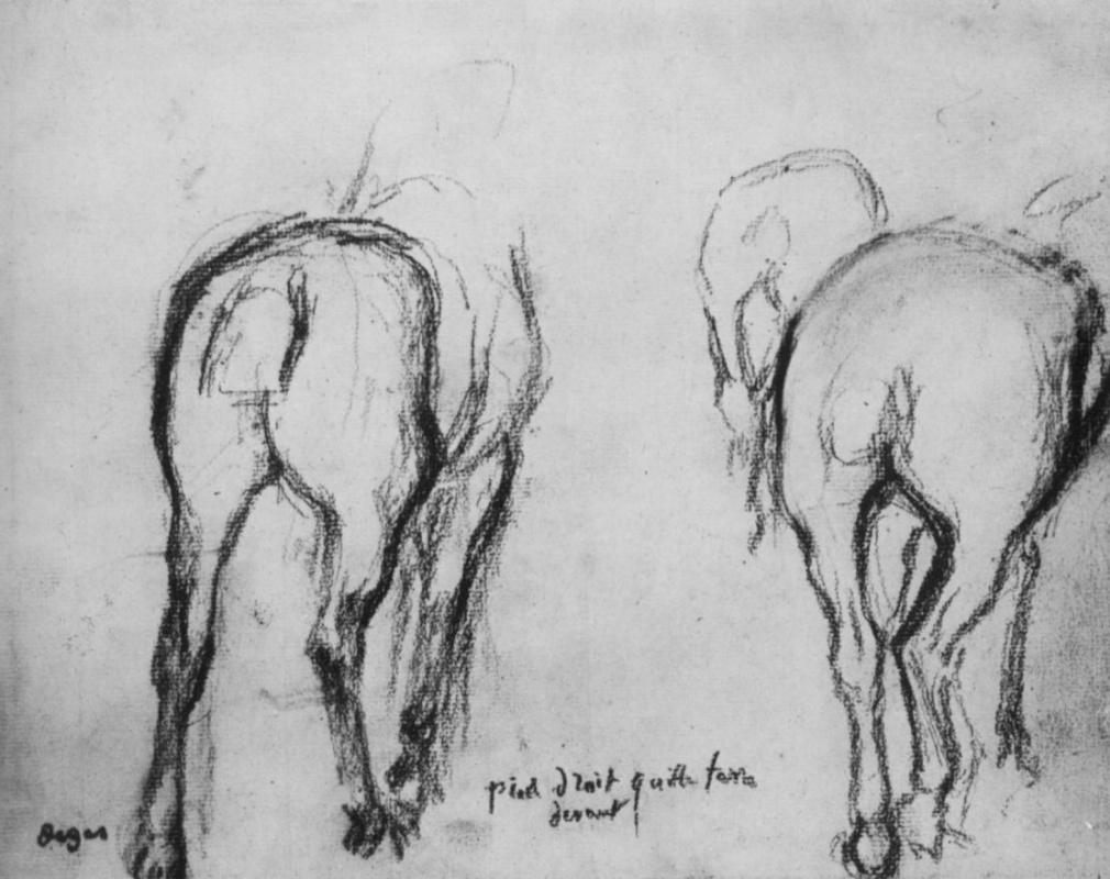 Эдгар Дега. Три лошади, вид сзади