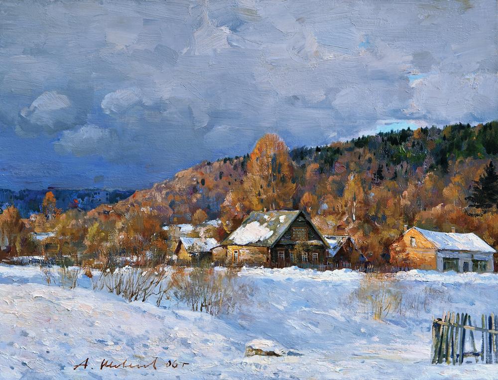 Alexander Victorovich Shevelyov. Winter house Zorina.Oil on canvas 29 # 37,7 cm 2006