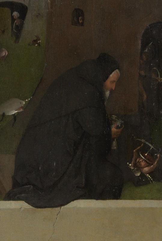 Иероним Босх. Распятая мученица. Фрагмент левой створки триптиха (Святой Антоний за молитвой)