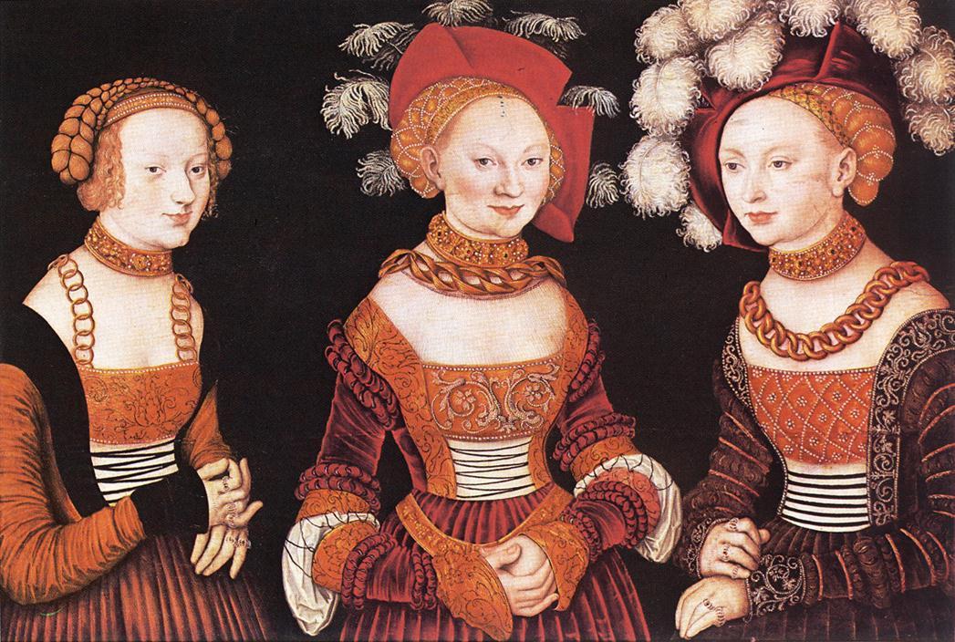 Лукас Кранах Старший. Саксонские принцессы Сибилла, Эмилия И Сидония