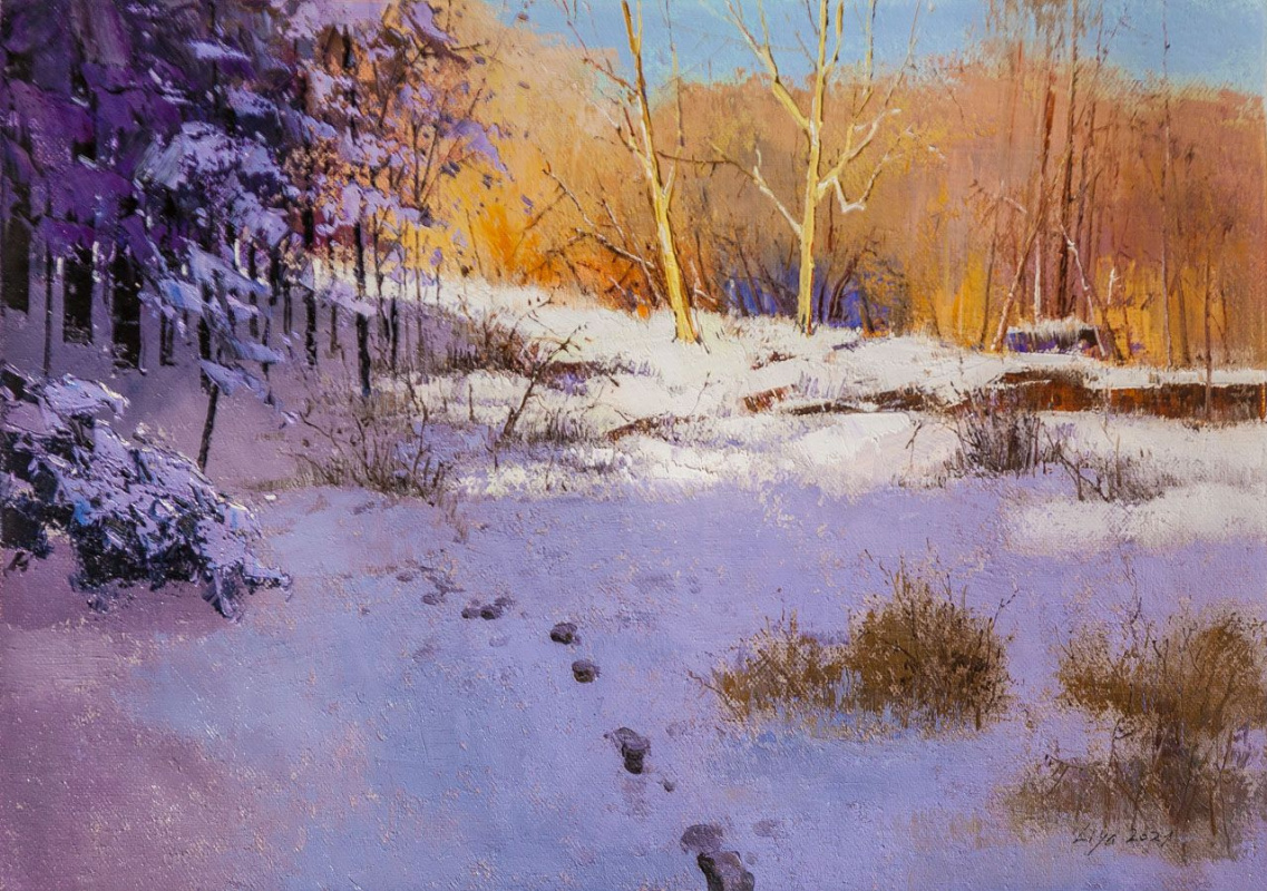 (no name). On a frosty day on a placer of snow ...