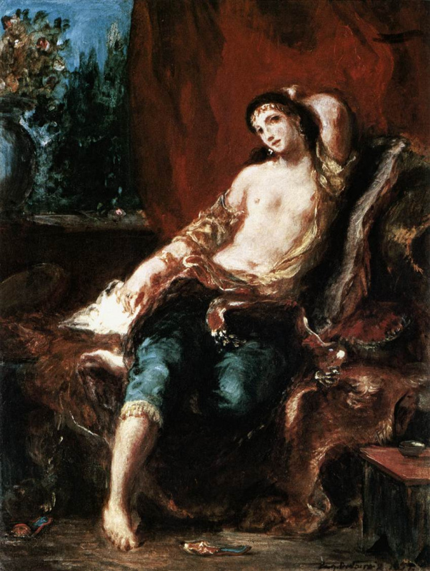 Eugene Delacroix. Odalisque at the window