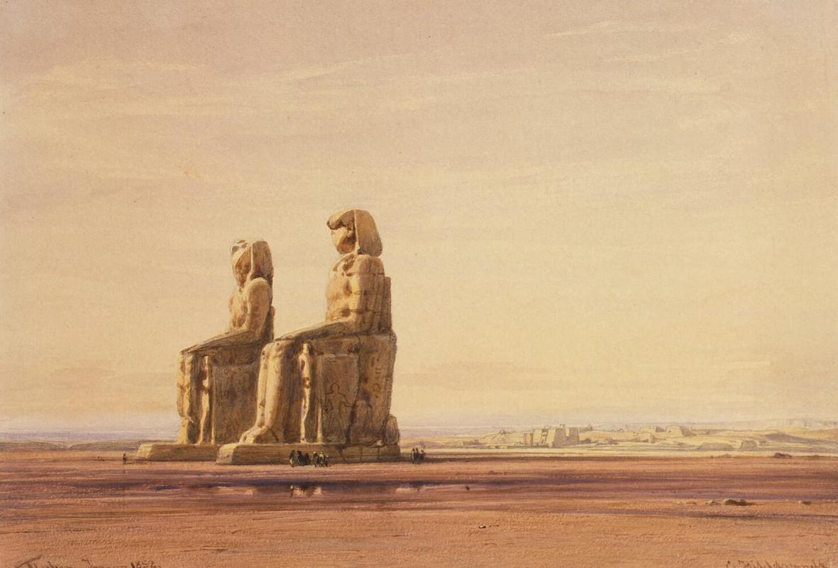 Эдуард Хильдебрандт. Статуи Мемнона на фоне Фив