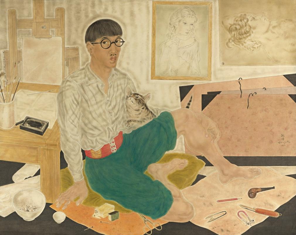 Цугухару Фудзита (Леонар Фужита). Автопортрет в мастерской