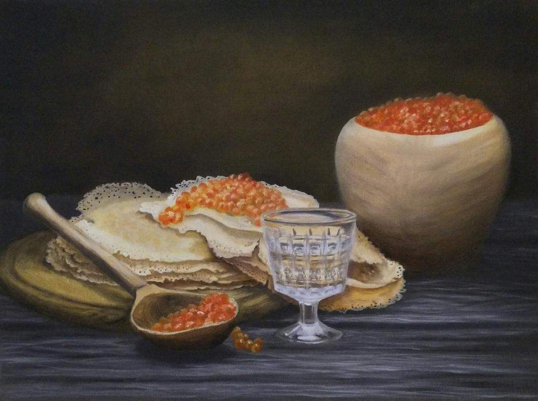 Olga Nadtochaeva. Pancakes with caviar