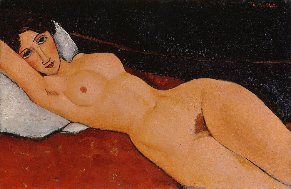 Amedeo Modigliani. Nude on a white pillow