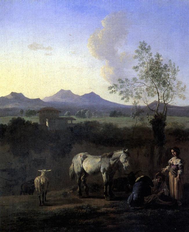 Пастухи, лошадь, коровы и овца на лугу с деревьями