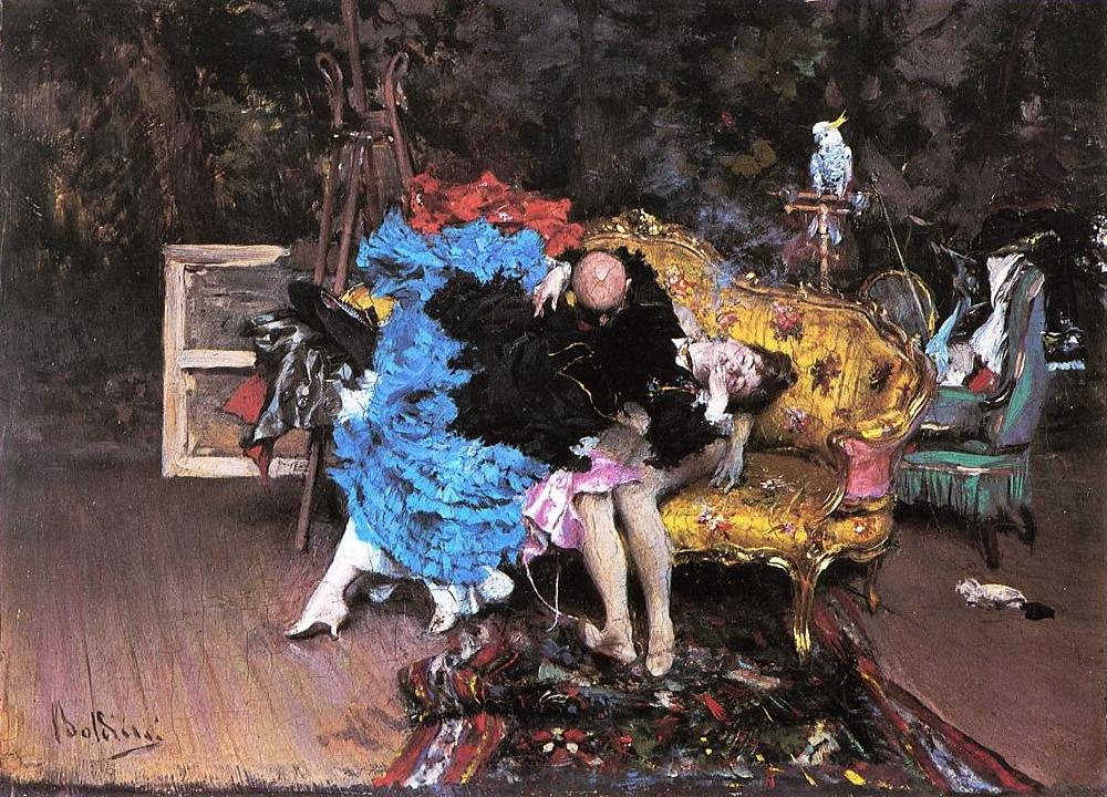 Giovanni Boldini. Model and dummy in the studio