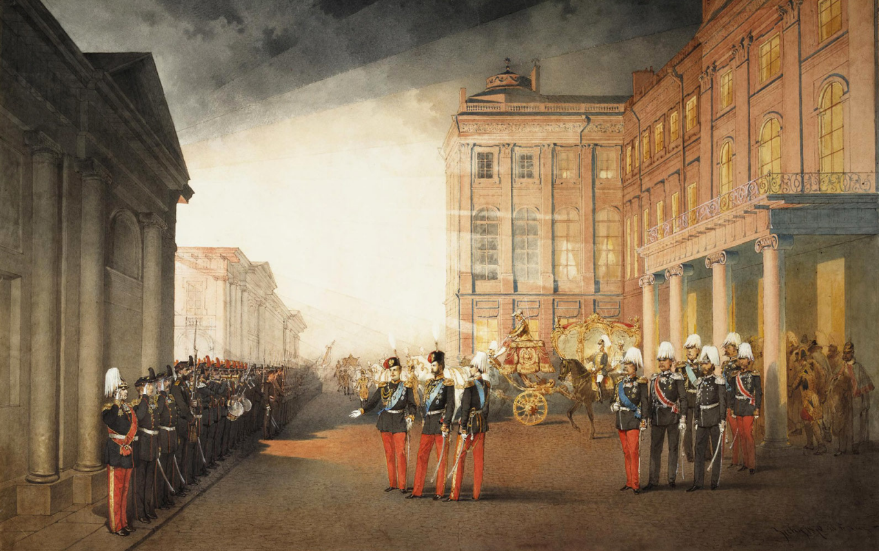 Mikhail Alexandrovich Zichy. Parade in front of the Anichkov Palace on February 26, 1870. 54 x 87 State Hermitage Museum, St. Petersburg. The drawing entered in 1919. Transferred from Anichkov Palace in Petrograd.