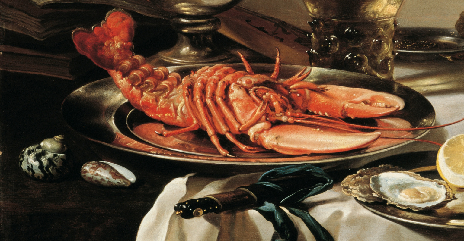 Pieter Claesz. Still life with lobster, jug, violin, lemon and berries. Fragment 2. Lobster on a platter and shells