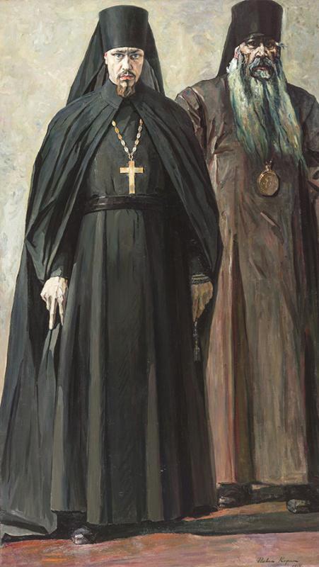 Pavel Dmitrievich Korin. Hieromonk Pimen and Bishop Anthony