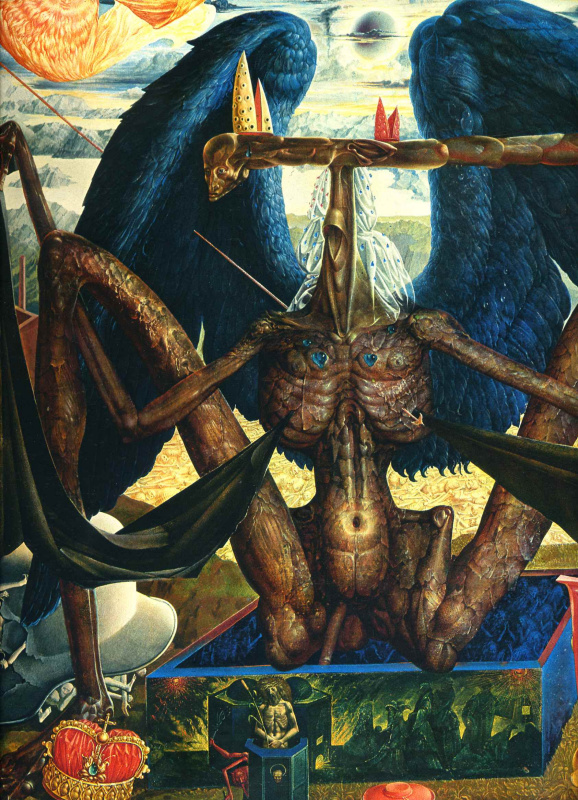 Ernst Fuchs. The angel of Death over the gate to Purgatory (detail)