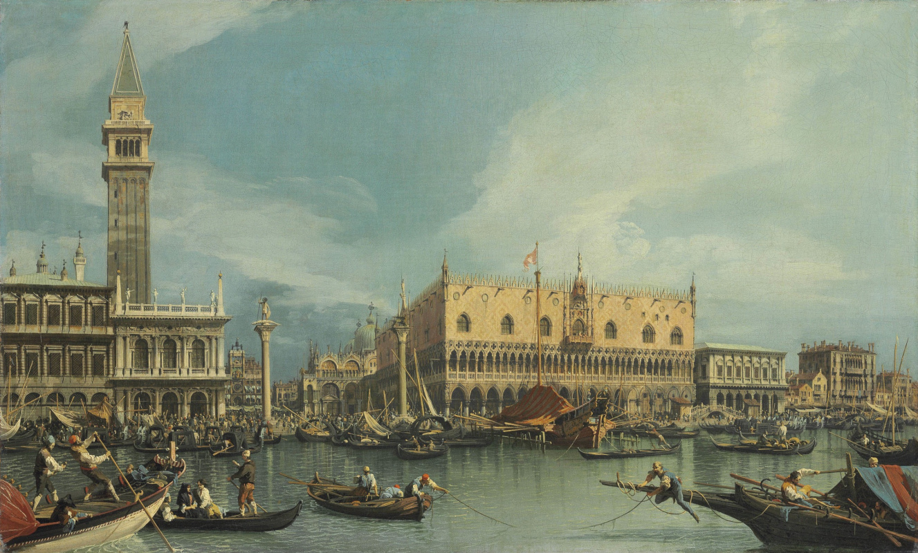 Джованни Антонио Каналь (Каналетто). «Венеция. Дворец дожей и библиотека, вид от собора Святого Марка»