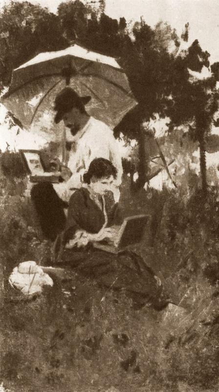 Алексей Степанович Степанов (1858-1923). И. И. Левитан и С. П. Кувшинникова на этюдах. 1887