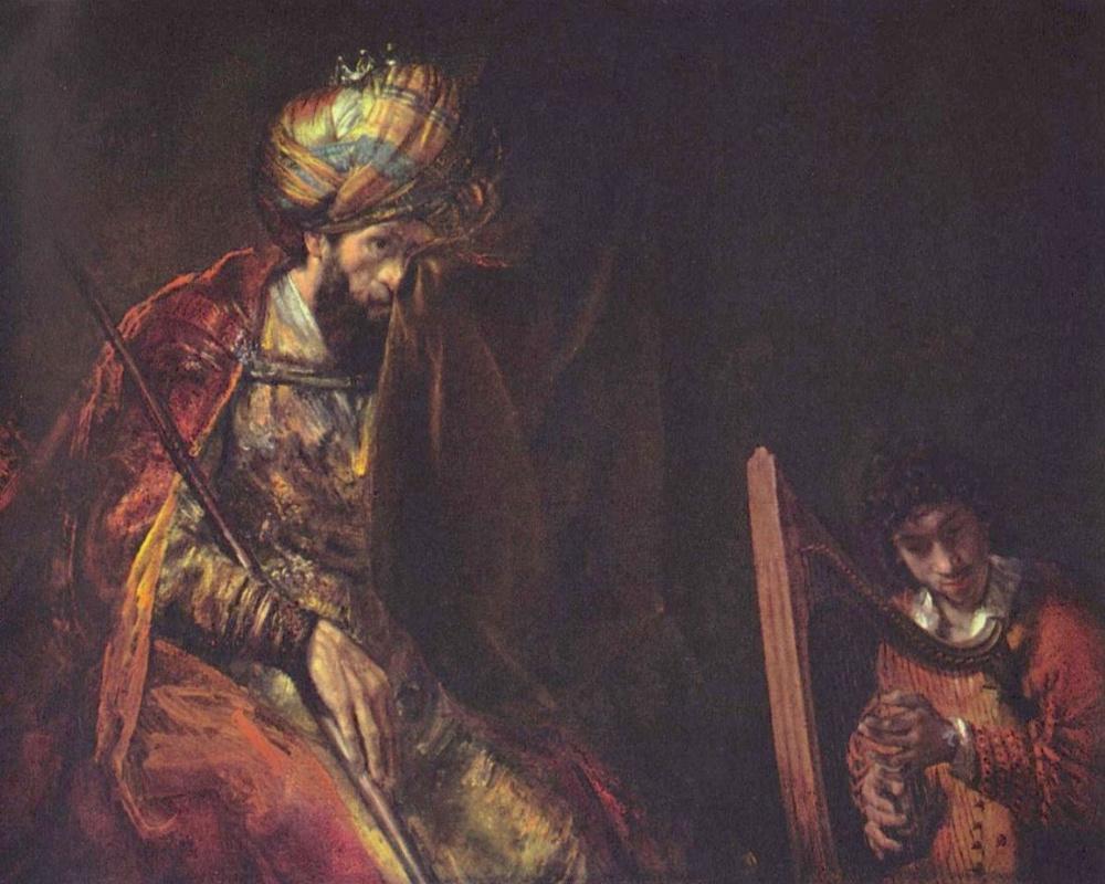 Рембрандт Ван Рейн. Давид, играющий перед Саулом на арфе