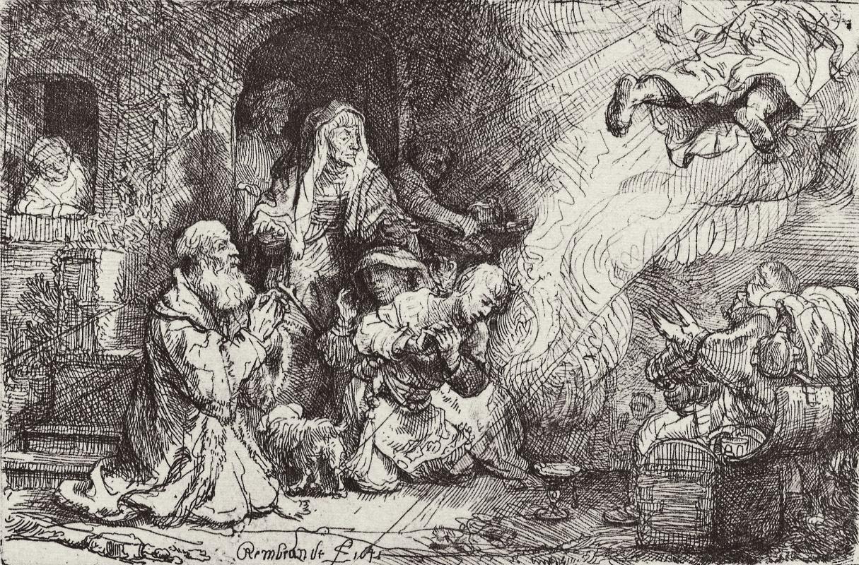 Рембрандт Харменс ван Рейн. Ангел покидает семейство Товии