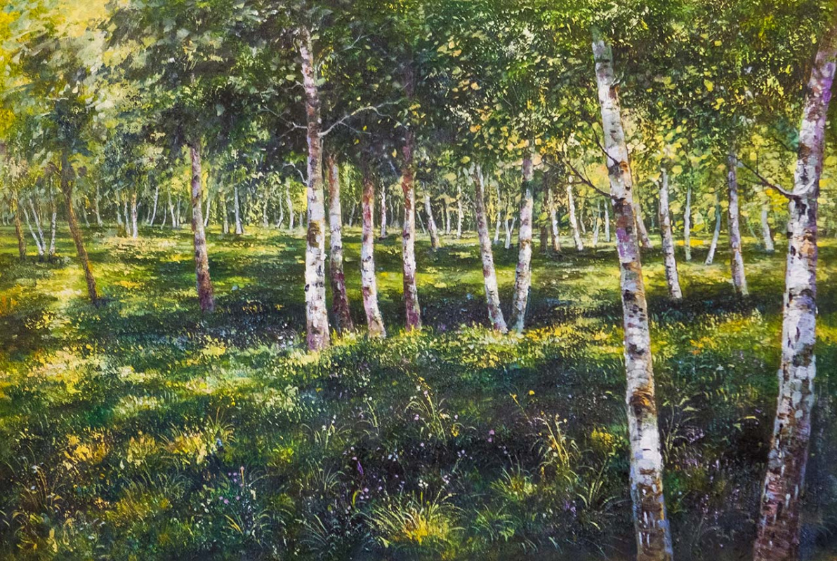 Savely Kamsky. Copy of oil painting Birch Grove