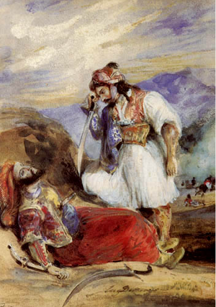 Eugene Delacroix. Gyaur over the dead body of Pasha
