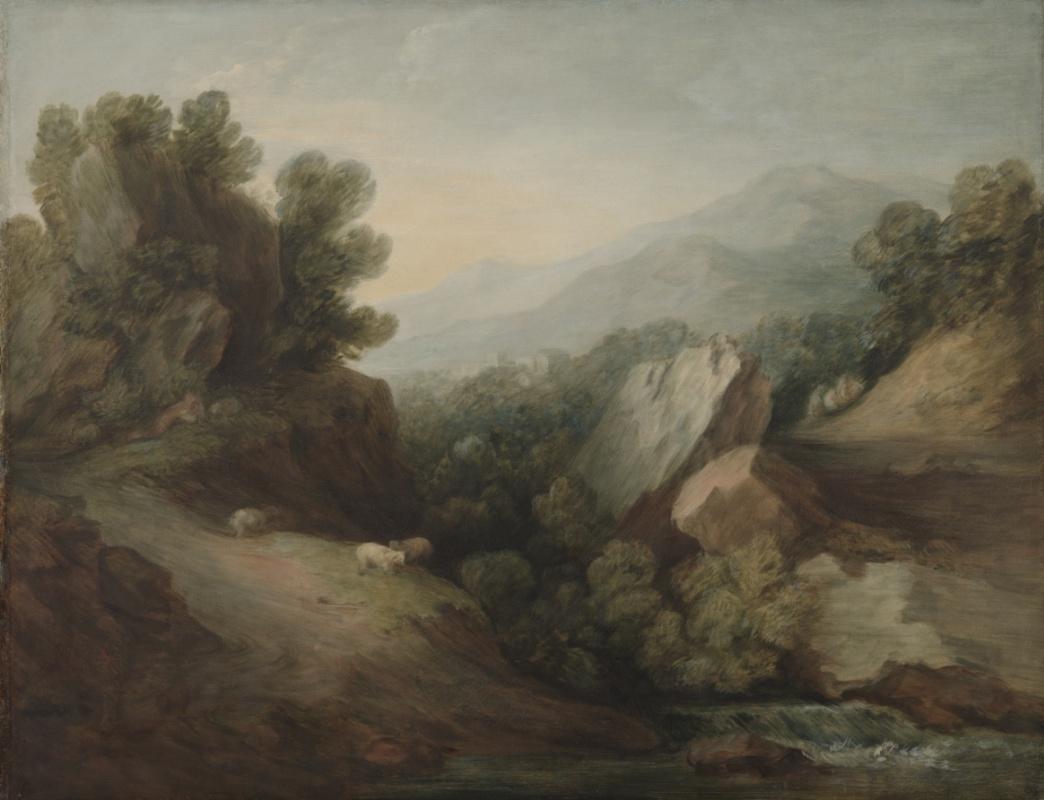 Томас Гейнсборо. Скалы. Пейзаж с лесистой лощиной и запрудой на реке